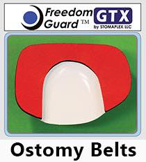 The Freedom-Guard GTX ostomy belt is shown with red nylon over a black neoprene pad for the inside padding. The extra-duty ostomy belt is available by request. The rubber coating on the outside makes this stoma guard very easy to care for. This is the most economical ostomy belt by Stomaplex. Blue was the original color for the GTX style ostomy belt.