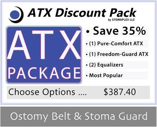 Freedom-Guard ATX and Pure-Comfort ATX Discount Package: Stoma Guard and Ostomy Belt by Stomaplex Stoma Guards